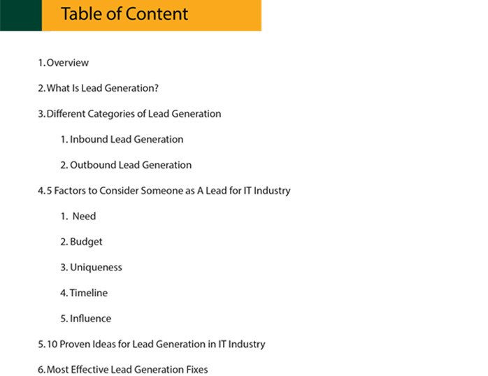 Table of content